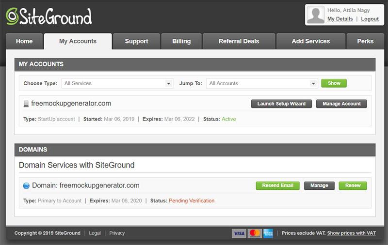SiteGround - My Account