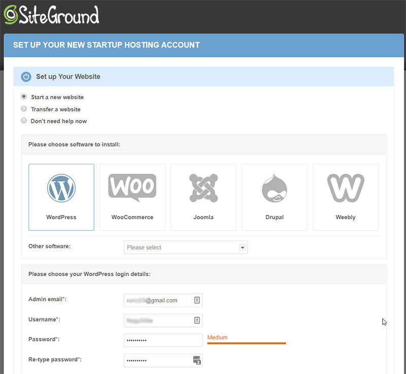 SiteGround - Setup Wizard