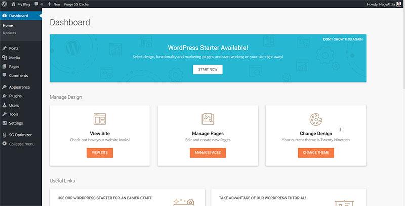 SiteGorund - WordPress Admin Panel